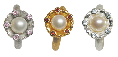 lune ring with fresh water pearl , tormaline, garnet, topaz in silver an gold plated
