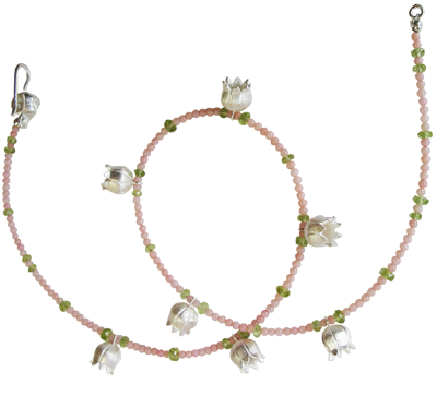 lilly of the valley n°3 in silver as necklace with coral and peridot