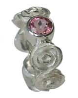 rose memory ring with 6mm pink tourmaline in silver