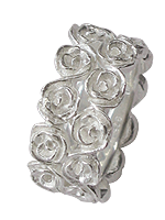 rose memory double ring in silver