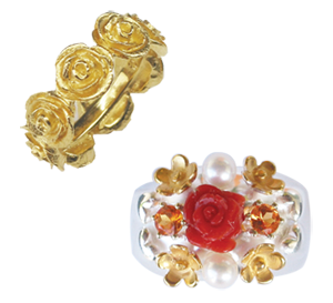 rose memory ring in 18ct yellow gold, very beautiful ring with coral, 18ct yellow gold little flowers, mandarin garnets, pearls, and hearts